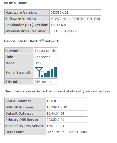 3G9WT web interface