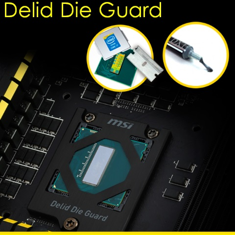 MSI Z97 motherboard features a die guard to protect delidded Intel CPU